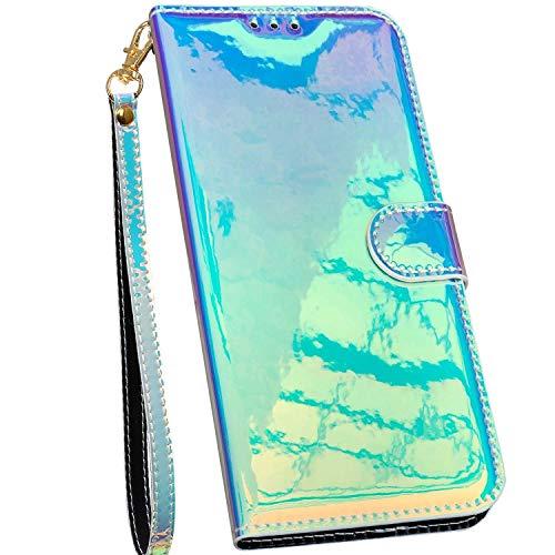 Ysimee Bunt Hülle kompatibel mit Samsung Galaxy A50 /A30S /A50S Handyhülle - Spiegel Design Handy Tache [PU Leder] [3-Kartenfächer] Flip Case Cover Schutzhülle Lederhülle Magnet Klapphülle, Grün
