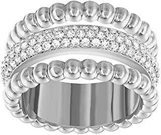 Swarovski Click Rhodium Plated Crystal Band Ring - Size 17.3 mm