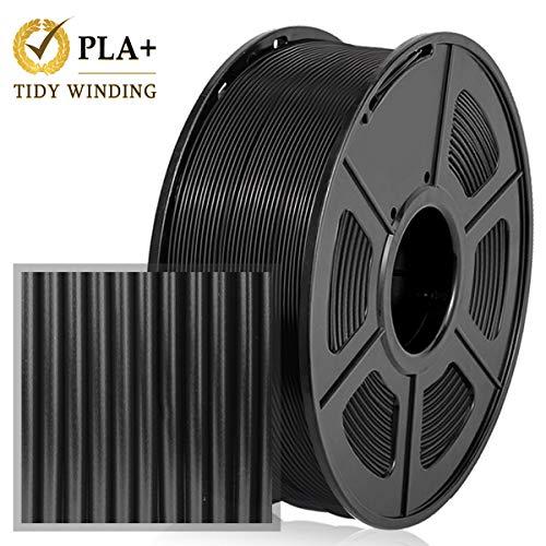 PLA Plus Filament 1,75 mm 1KG,Enroulement rangé amélioré, Aucun enchevêtrement,PLA+ Noir