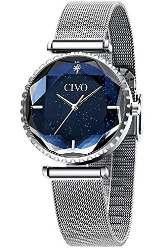CIVO Damen Uhr Silber Wasserdicht Sternenhimmel Edelstahlgewebe Armbanduhr Damenuhren Elegant Einfach Uhren Klassisch Damen Uhren Business Kleid Lässig Analog Geschenke