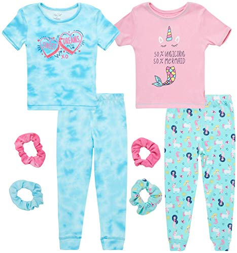Rene Rofe Baby Girls' Pajamas - 4 Piece Super Soft Snug Fit T-Shirt and Pants (Infant/Toddler), Size 24 Months, Pink-Blue Mermaid/Blue