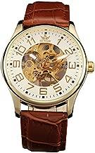 Sewor Mens Skeleton Transparent Mechanical Watch Brown Leather Skeleton Movement (Gold White)