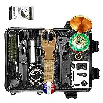 Kit de survie d'urgence Multi-outils 14en1 Avec Trousse de Premiers Secours,Couteau de Survie,Lampe de Poche,Allume Feu,Boussole,camping,Paracorde pr randonnée etc Normes CE, FDA , BSCI