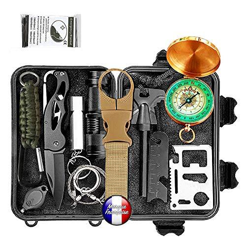 Kit de survie d urgence Multi-outils 14en1 Avec Trousse de Premiers Secours,Couteau de Survie,Lampe de Poche,Allume Feu,Boussole,camping,Paracorde pr randonnée etc Normes CE, FDA , BSCI