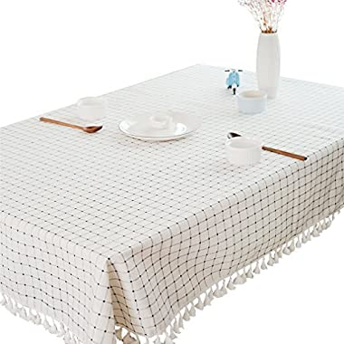 Linen Tablecloth 60 x 102 Inch | White Macrame Lace Table Cloths | Plaid Rectangle Table Covers | Kitchen Oblong Table Top for Dinner parties,Easter, Holidays or Everyday Use (60x102 inch)