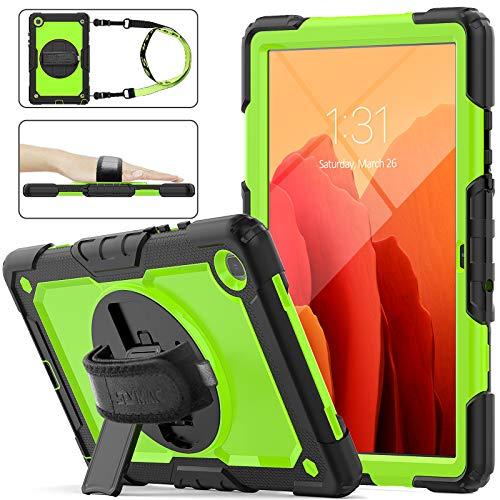 SEYMAC STOCK Galaxy Tab A7 10.4 Case (SM-T500/T505/T507), Heavy Duty Sturdy Case with 360 Rotating Kicktand, Stylus Pencil Holder & Screen Protector for Samsung Galaxy Tab A7 10.4'' 2020(Green+Black)