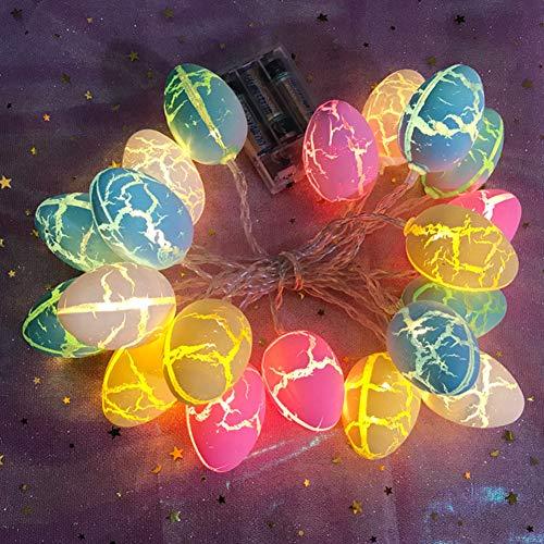 Cadena de luces para huevos de Pascua, funciona con pilas, 10 luces LED, 1,5 m, para decoración de Pascua, hogar, fiesta, jardín, exterior, decoración de primavera, blanco cálido