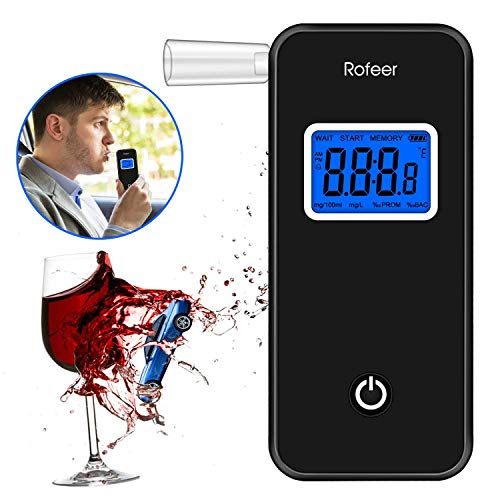 Breathalyzer, [FDA Certification] Rofeer Digital Blue LED Screen Portable Breath Alcohol Tester with 5 Mouthpieces for Drivers Or Home Use, Auto Power Off, Sound Alarm, Current Temperature Display