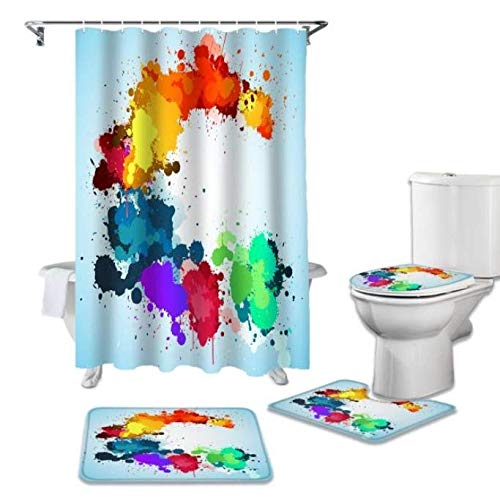 Rainbow Shower Curtain & Bathroom Rug Set, Kids Shower Curtain 4 Piece Set, Rainbow Shower Curtain, Non-Slip Shower Mat, Toilet Mat & Rainbow Toilet Seat Cover, Rainbow Bathroom Décor for Kids