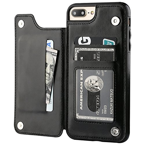 iPhone 7 Plus iPhone 8 Plus Wallet Case with Card Holder,OT ONETOP Premium PU Leather Kickstand Card Slots Case,Double Magnetic Clasp and Durable Shockproof Cover 5.5 Inch(Black)