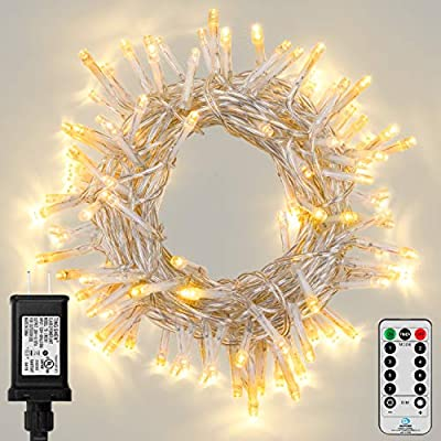 Koxly Outdoor String Lights 100 LED 33FT Long Fairy Tree Light with Remote Control Timer Waterproof Christmas Decorative Extendable Lights Plug in 8 Modes Twinkle Lights for Wedding Party Holiday