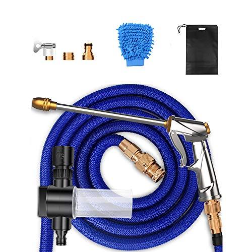 CWWHY Hochdruckwasserpistole Autowäsche Artefakt, Hauptteleskopschlauch Starke Wasserrohrdüse, Autowäsche, Bewässerung Wasserpistole, Bewässerungsset,7.5m