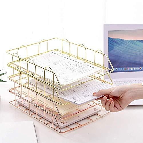 HYZXK Libro Sorter Bagagli Scaffale, Rack File 4 Set Vassoio Documenti E Porta-Corrispondenza Office Desk, Metallo
