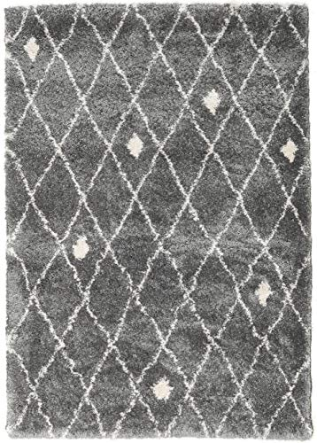 CarpetVista Alfombra Shaggy Zanjan - Gris/Blanco 160x230 Alfombra Moderna
