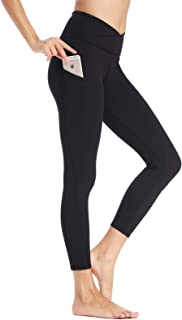 Willit Women's High Waisted Yoga Leggings Side Pocketed V Cross Workout Capris Pants Tummy Control
