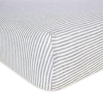 Burt s Bees Baby - Fitted Crib Sheet Boys & Unisex 100% Organic Cotton Crib Sheet For Standard Crib and Toddler Mattresses  Heather Grey Thin Stripes