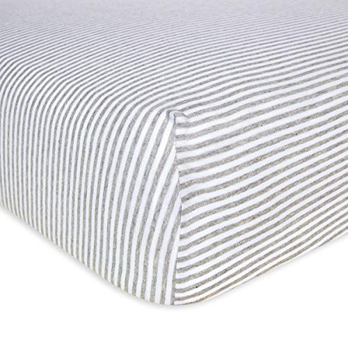 Burt's Bees Baby - Fitted Crib Sheet, Boys & Unisex 100% Organic Cotton Crib Sheet For Standard Crib and Toddler Mattresses (Heather Grey Thin Stripes)