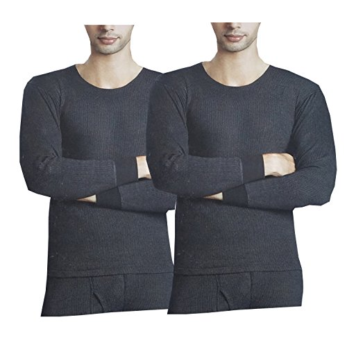 Amul Ultima Bodywarmer Men's Cotton Thermal Top (Black, Large) -Pack of 2
