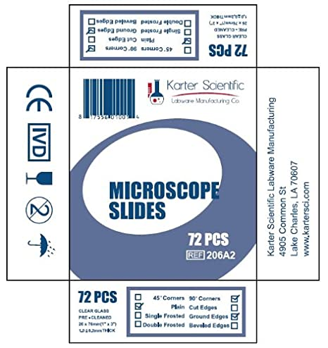 3x1 Ground Edges Karter Scientific 206A21 90 Corners Pack of 36 Plain Microscope Slides and Cover Slip Set