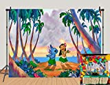 5x3ft Lilo and Stitch Backdrops Tropical Beach Hawaiian Style Girls Kids 1st Birthday Party Decoration Photography Background Baby Shower Cake Table Decoration Banner Studio Booth Props