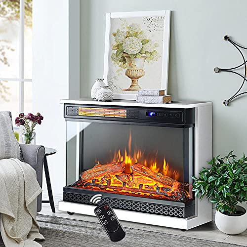 INMOZATA Electric Fire with Surround Freestanding Electric Fireplace Free Standing Low Noise White 30 inch Electric Fire Suite Stove Heater Suites with Removable Wheels