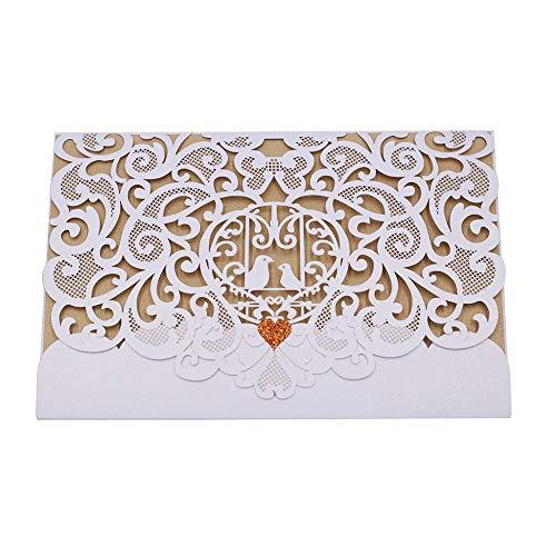 XLYAN Hochzeitseinladungen Durchbrochene Muster Einladungskarten Laserschneiden Hochzeit Einladungskarten-Set,Leeres Bedruckbares Papier,50 Sätze,Gold