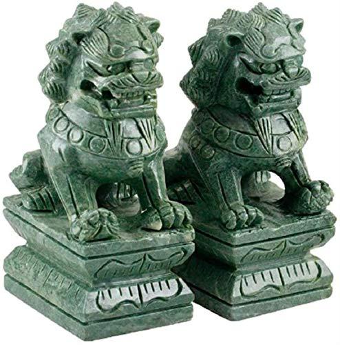 Attrezzatura Vivente Una Coppia di Statue di Leoni di Pechino Fu Foo Dogs Ornamenti Cinesi Decorazione Statue di Leone guardiano Cinese Tradizionale con Decoro in Pietra