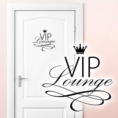 Grandora Wandtattoo VIP Lounge I schwarz (BxH) 19 x 18 cm I WC Badezimmer Toilette selbstklebend Türaufkleber Aufkleber Wandaufkleber Wandsticker W5373