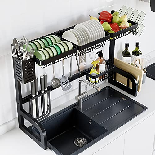 Over Sink Dish Drying Rack, Adjustable Length (33''-41'') Dish Drying Rack, Stainless Steel Dish Rack Over The Sink for Kitchen Counter, Over Sink Shelf Dish Rack with Utensil Dish Holder
