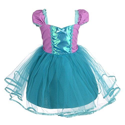 Lito Angels Vestido de Princesa Ariel para Niña Disfraz de Sirenita de Fiesta de Cumpleaños Halloween Carnaval Falda de Verano Talla 6-7 Años