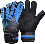 Soccer Goalie Goalkeeper Gloves – Kids Youth Adults Goalie Gloves with Finger Protection Anti-Slip Latex Palm and Soft PU Hand Back (Blue, 7)