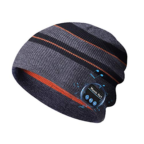 Bluetooth Beanie Hats, Christmas Tech Gifts for Men Women, Wireless Music Hat Headphones - Unisex Winter Knit Cap Headset with Built-in Mic, 100% Washable