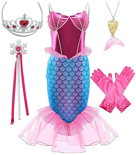 SunHibay 5 Piezas de Disfraces de Cosplay de Sirena Vestido de Ariel para Fiesta de Cumpleaños de Niñas con Joyería de Tiara (K63(RRG), 110)