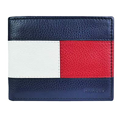 Tommy Hilfiger Men's Slim Leather Bifold Wallet Flag Design, Blue/White/Red