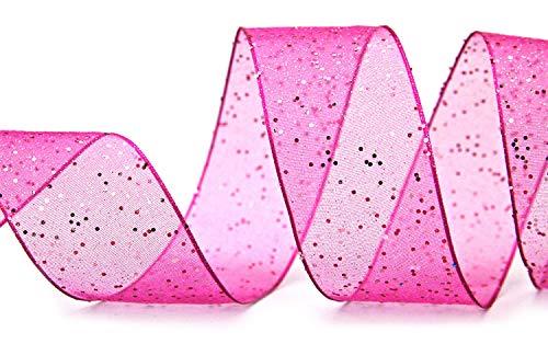 finemark Dekoband (1,33€/m) Glitzer PINK 3 m x 40 mm Stoffband Transparent glänzend Organza mit Drahtkanten elegant Weihnachten Advent Geburtstag Premium Glitter Ribbon