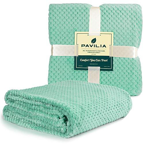 PAVILIA - Manta de forro polar con textura de gofre para sofá, color verde azulado y menta   Manta de franela de terciopelo suave para salón   Manta de microfibra ligera para todas las estaciones, 50 x 60 pulgadas