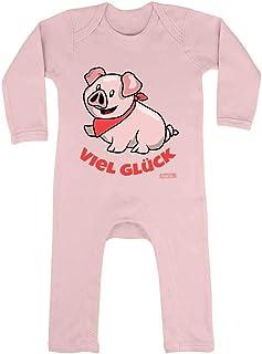 HARIZ HARIZ Baby Strampler Schweinchen Viel Glück Süß Tiere Dschungel Plus Geschenkkarte Zuckerwatte Rosa 3-6 Monate