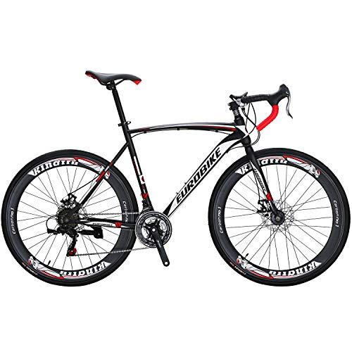 Eurobike Road Bike 700C wheels 21 Speed Disc Brake Mens Bicycle 54cm Frame (Aluminium Wheels)