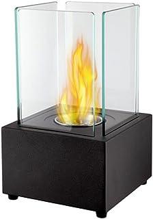BKWJ Cheminée de Table pour Foyer extérieur intérieur, cheminée carrée au Bio éthanol, brûleur en Acier Inoxydable, Pot de...