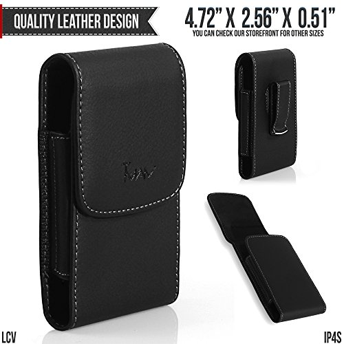 Nokia 3310 3G Belt Pouch, TMAN [Leather Vertical] Metal Clip Holster/Magnetic Closure Case, Cover with Belt Loop Carrying Protective - Fits Cellphone without any Case