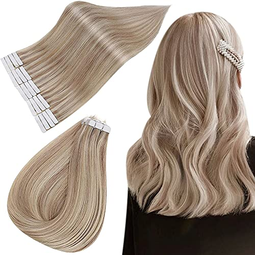 Easyouth Tape in Remy Echthaar Extensions 12zoll 30g Aschblondes Highlight mit Hellblond Ersatztapes für Tape Extensions Echthaar Tape Extensions Ombre