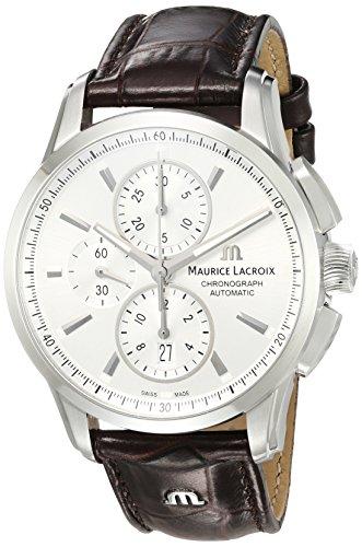 Maurice Lacroix Männern Pontos 'Swiss Automatik Edelstahl und Leder Casual Uhr, Farbe: Braun (Modell: pt6388-ss001–130–1)