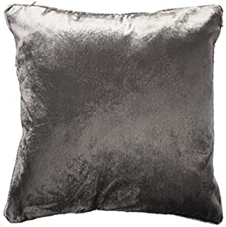 McAlister Textiles Shiny Velvet Cushion Cover | Charcoal Grey Metallic Look Decorative Soft Hand-Made Throw Sofa Couch Lumbar Bed Chair Pillow | Size - 18 x 18 Inches