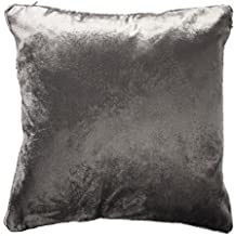 McAlister Textiles Shiny Velvet Pillow Case | Charcoal Grey Crushed Metallic Look Decorative Throw Scatter Sofa Cushion Sham | Size - 18 x 18 Inches