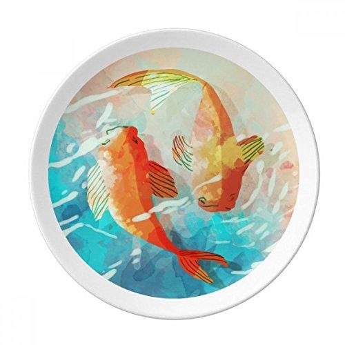 Rouge Koi Poissons aquarelle Japan Style décoratif en porcelaine Assiette à dessert 20,3 cm dîner Maison Cadeau