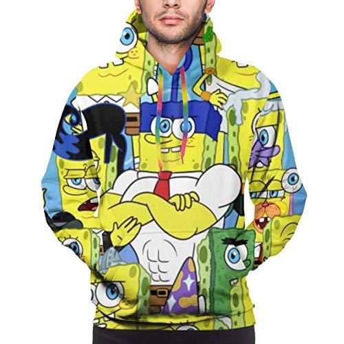 Angela R Mathews Herren Spongebob Schwammkopf Funny 3D Printed Pullover Langarm Kapuzenpullover Gr. XXXL, Schwarz