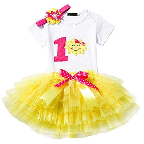 IMEKIS Conjunto de ropa de primer cumpleaos para nia con estampado lindo de tut y falda para nios pequeos con diseo de flores y lazos, vestido de fiesta de princesa, torta y despedida de fotos