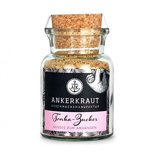 Ankerkraut Tonka-Zucker, 110g im Korkenglas, Zuckermischung mit gemahlenen Tonkabohnen perfekt für Süßspeisen und Desserts