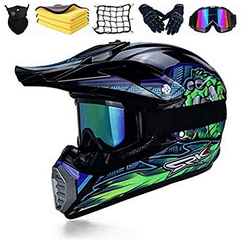 SYANO casco da moto, casco per bambini,casco da discesa, casco integrale per mountain bike,D.O.T Certificato,Casco Motocross con Occhiali Guanti Mascherina (XL)