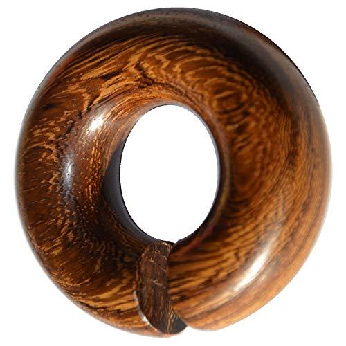 CHICNET Damen Herren Ohrgewicht Dehner Expander Ohr Piercing aus Parasitholz Holz in braun, Ring Donut Form, unten offen, Wellenmaserung, Plug Tunnel, Größen 12mm bis 16mm (10 mm)